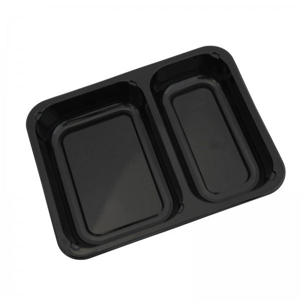 Siegelschale C-PET schwarz, 2-geteilt