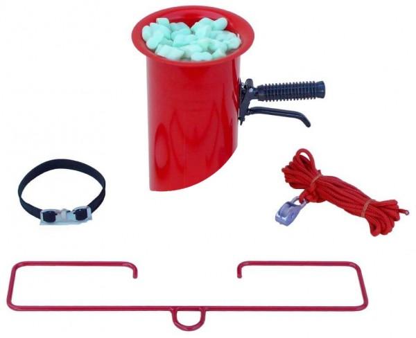 Abfülltrichter mit abgeschrägtem Auslauf, rot, inkl. Zubehör