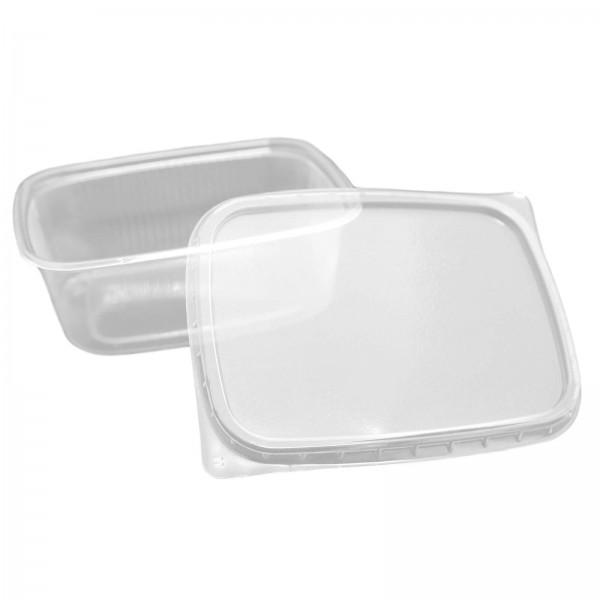 transparenter Feinkostbecher eckig, Kombipack mit Deckel PP