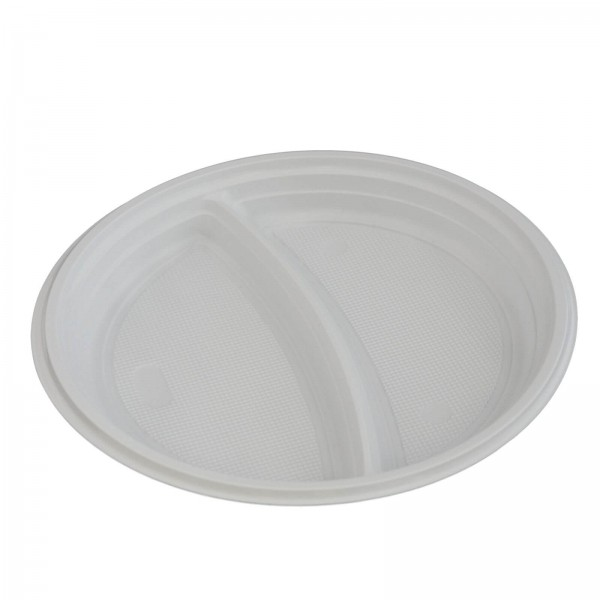 weißer Kunststoff-Menüteller PP Ø 220 x 25 mm 2-geteilt