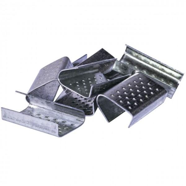 Verschlusshülsen für Kunststoff-Umreifungsband verzinkt, genoppt