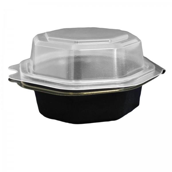 Schwarze achteckige Salat-Klappbox mit transparentem Deckel (Fantasy)