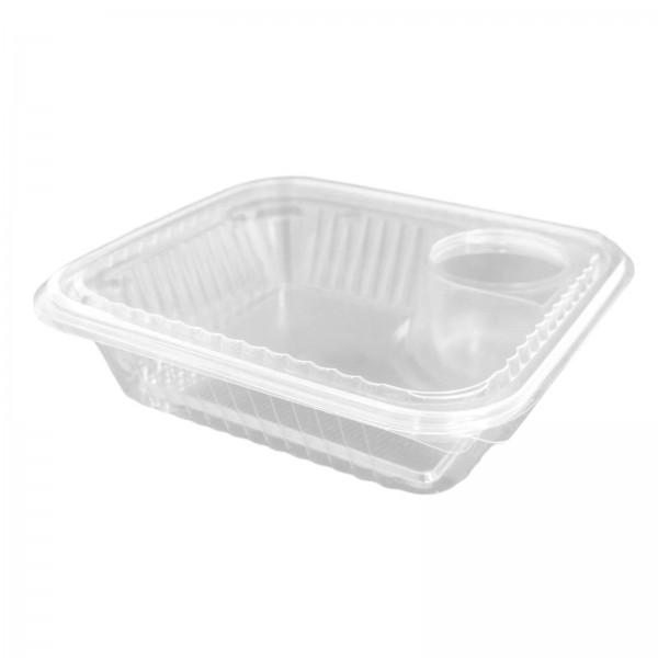 Hochtansparente Salat-Klappbox PET + Dressing