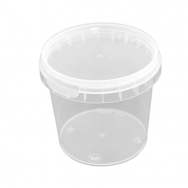 transparenter Originalitätsverschlussbecher rund PP mit Deckel 365 ml (Ø 95 x 85 mm)