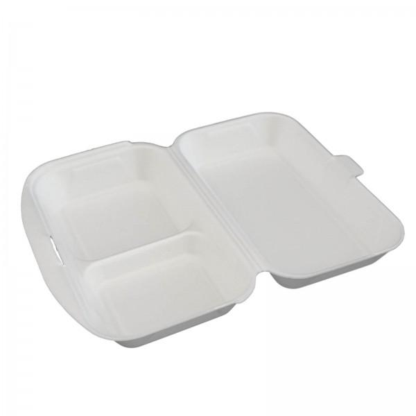 Thermo-Klappbox Lunchbox 2-geteilt EPS Styropor weiß, 240 x 160 x 75 mm