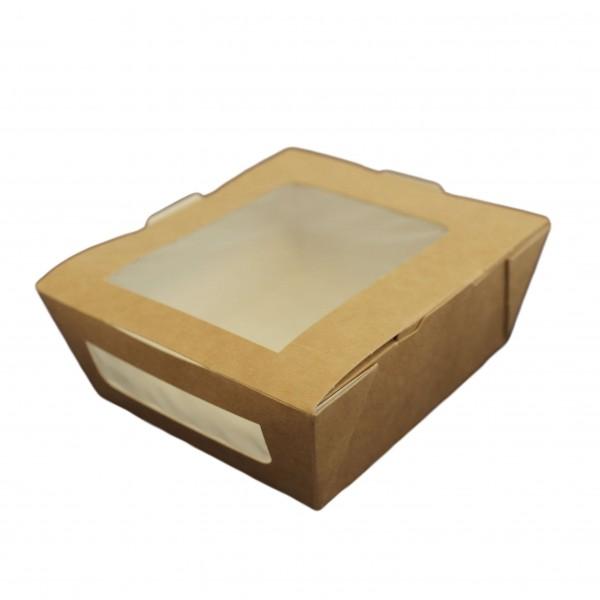 Braune Papp Snackbox mit PLA Sichtfenster