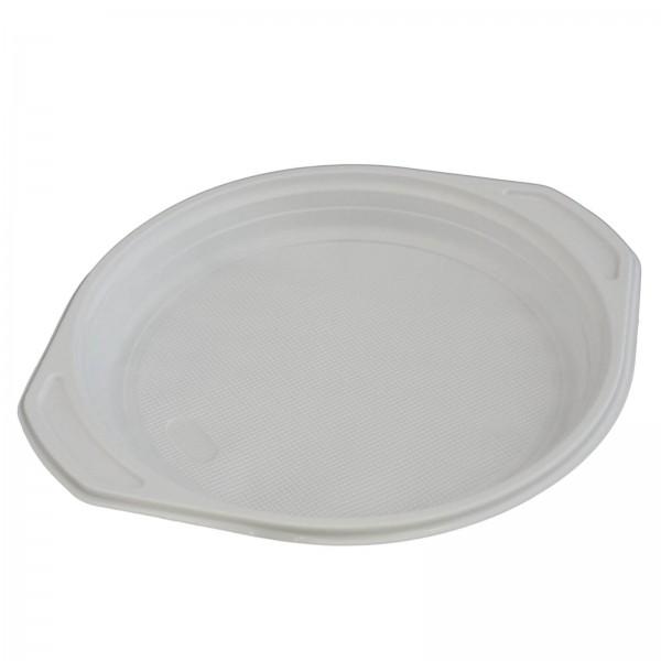 weißer Kunststoff-Menüteller PP Ø 220 x 25 mm ungeteilt