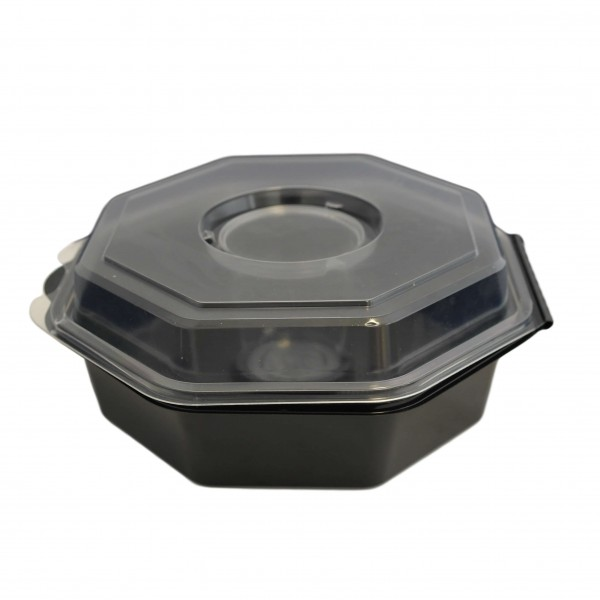 Schwarze Salat-Klappbox mit Dressingglas & transparentem Deckel