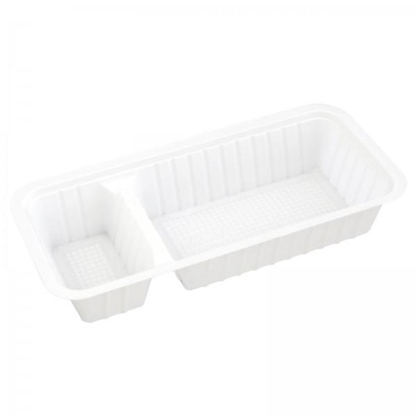 weiße Kunststoff-Imbissschale 2-geteilt PS