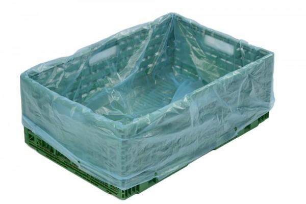 Seitenfaltensäcke für E2 Kisten blau-transparent 600 + 400 x 800 x 0,010 mm