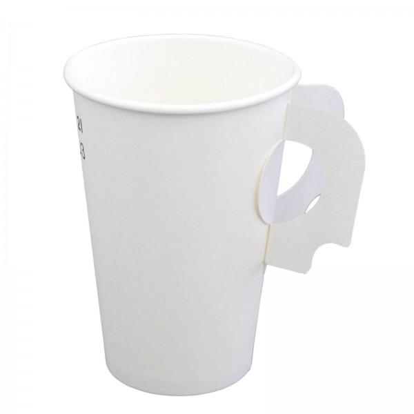 weißer Papp Trinkbecher mit Henkel 0,2 l