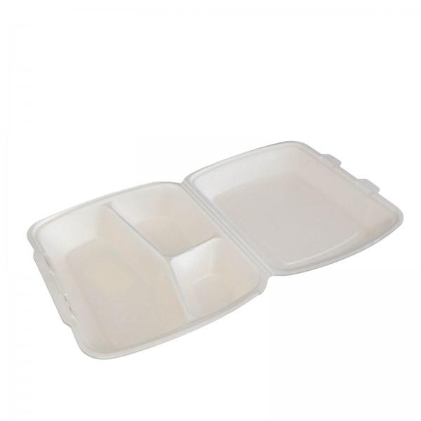 Thermo-Klappbox Menübox EPS Styropor cream, 3-geteilt