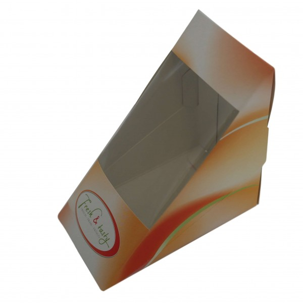Sandwichbox Pappe 120 x 72 x 120 mm (neutraler Druck, Fresh & Tasty)