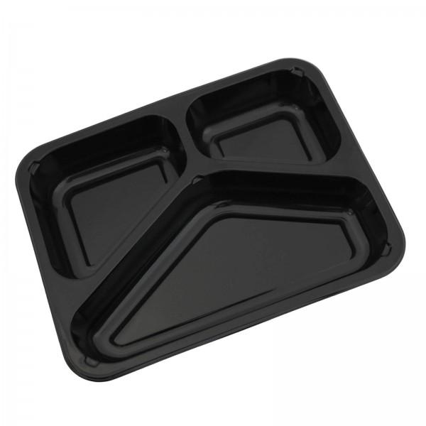 Siegelschale C-PET schwarz, 3-geteilt