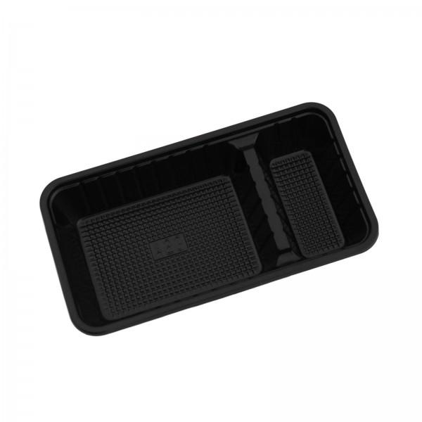 schwarze Kunststoff Imbissschale 2-geteilt PS 165 x 95 x 33 mm (ca. 275 + 50 ml)