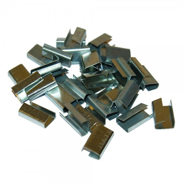 Verschlusshülsen für Kunststoff-Umreifungsband, glatt, verzinkt, extra stark, 2000 Stk.