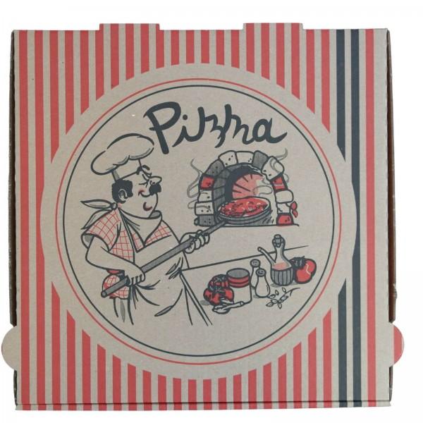 Brauner Pizzakarton extra hoch, neutraler Druck