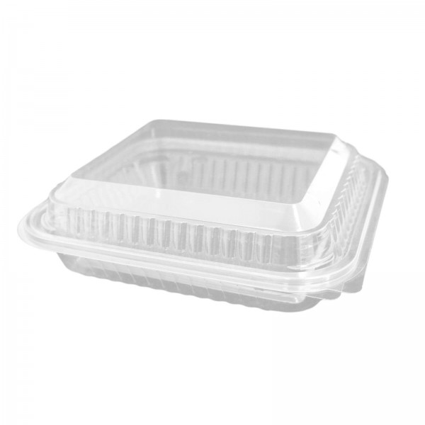 Hochtransparente Salat-Klappbox PET, eckig