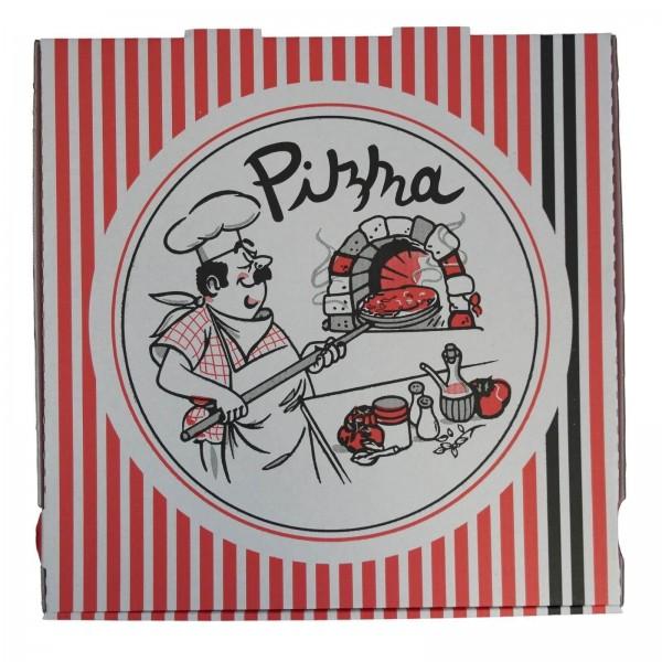 Weißer Pizzakarton extra hoch, neutraler Druck