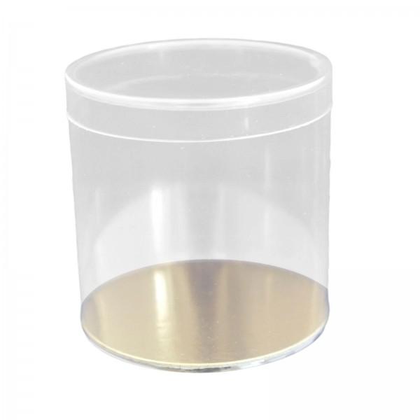 Klarsichtbox Runddose, transparent 80 mm mit Goldkarton-Boden