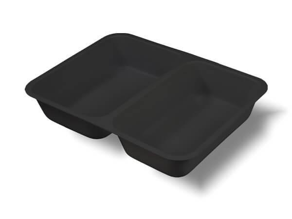 Siegelschale PE schwarz, 224 x 174 x 40 mm (2-geteilt) 1060 ml