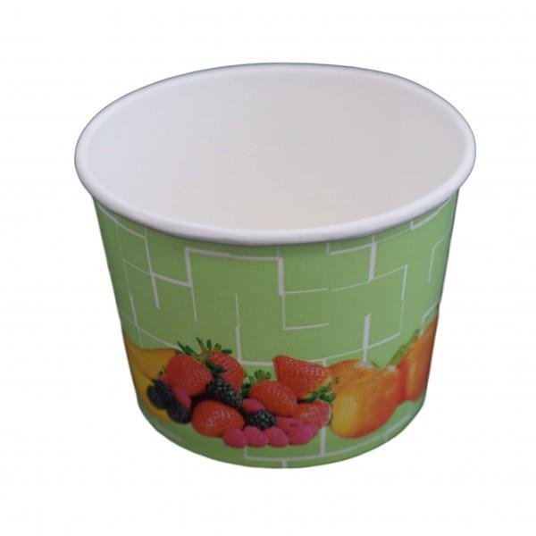 Runder Papp Eisbecher (Motiv Früchte)